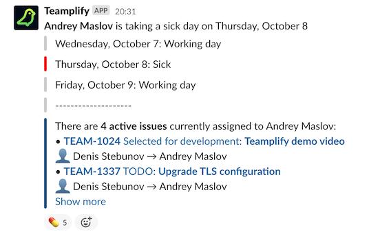 Sick day notification in Slack